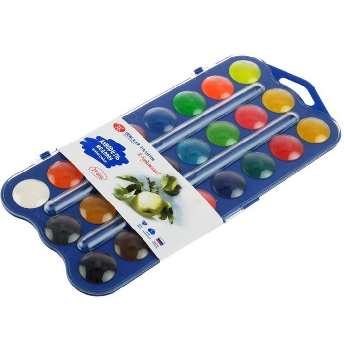 Акварель 24 цвета, «Я - Художник!», (12 основных, 6 перламутровых и 6 флуоресцентных цветов) без кисти, в пластиковой коробке