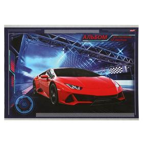Альбом для рисования А4, 12 листов на скрепке «Красная машина-6», бумажная обложка, блок 100 г/м2