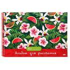 Альбом для рисования А4, 40 листов на гребне «Арбузы и цветы», обложка мелованный картон, блок офсет