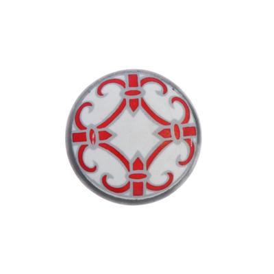 """Ручка металлическая для мебели BLUMEN HAUS """"Восточный узор"""", белый, красный - Фото 1"""