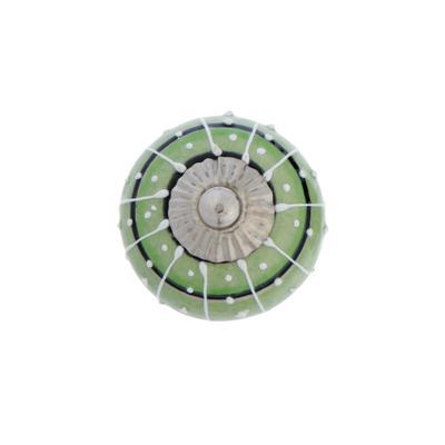 """Ручка керамическая для мебели BLUMEN HAUS """"Восточный узор"""", ручная роспись,зеленый, белый - Фото 1"""