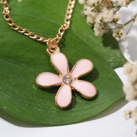 """Кулон """"Маленький цветочек"""", цвет розовый в золоте , длина 42см"""