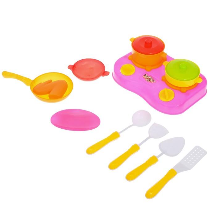 """Набор посуды """"Малыш-кулинар-2"""" с плитой, 10 предметов, цвета МИКС"""