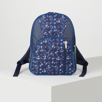 Рюкзак школьный, 2 отдела на молниях, 2 наружных кармана, цвет синий - Фото 1