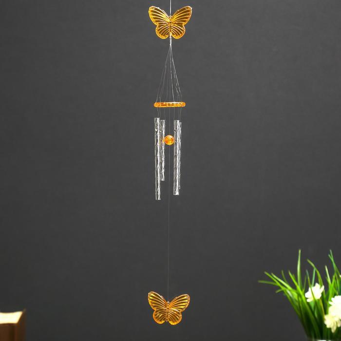 Музыка ветра пластик Бабочка МИКС 4 трубки 40 см