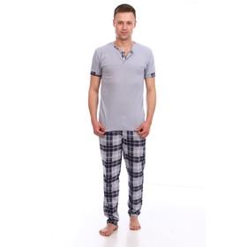 Костюм мужской (футболка, брюки) цвет серый МИКС, размер 56