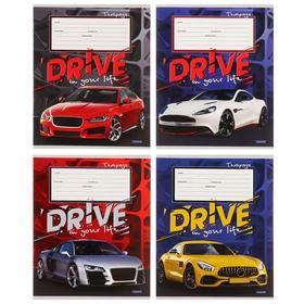 Тетрадь 12 листов в клетку «Машины на ярком фоне», обложка мелованный картон, блок офсет, МИКС