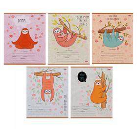 Тетрадь 12 листов в клетку «Позитивный ленивец», обложка мелованный картон, блок офсет, МИКС