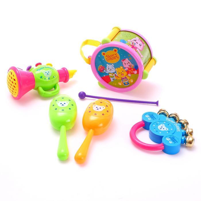 Набор музыкальных инструментов Мишки, 6 предметов, цвета МИКС