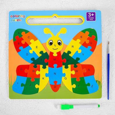 Развивающий набор 3в1 «Бабочка», раскраска, пазл, планшет,маркер, в пакете