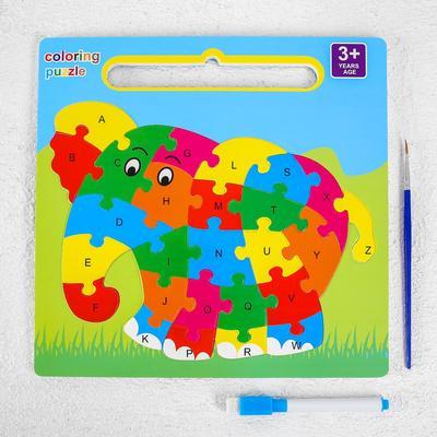 Развивающий набор 3в1 «Слон», раскраска, пазл, планшет, маркер, в пакете