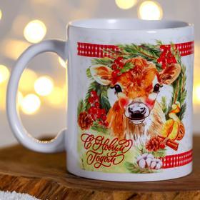 """Кружка """"С Новым Годом!"""" снегирь, коровка"""