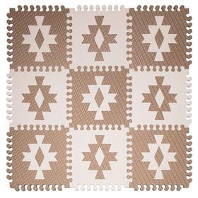 Детский коврик-пазл «Этника 1» 33х33 см, толщина 18 мм, (кофе с молоком, светло-кремовый), МИКС, сумка