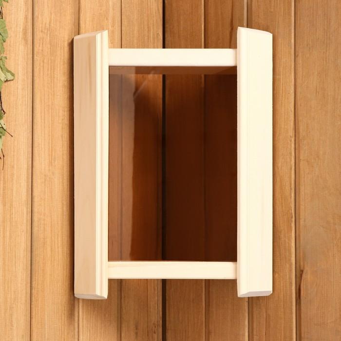 Абажур деревянный угловой, темное стекло