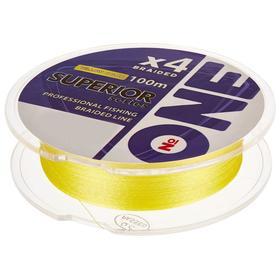 Плетёная леска №ONE SUPERIOR Х4-yellow, 100 м, d=0,14 мм