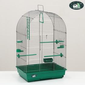 Клетка для птиц 'Пижон' №101, цвет хром , укомплектованная, 41 х 30 х 65 см, изумрудная Ош