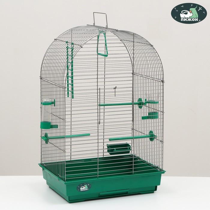 Клетка для птиц Пижон 101, цвет хром , укомплектованная, 41 х 30 х 65 см, изумрудная