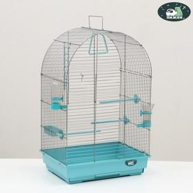 Клетка для птиц 'Пижон' №101, хром , укомплектованная, 41х30х65 см, бирюзовая Ош