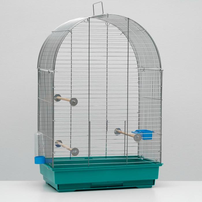 Клетка для птиц Пижон 101, цвет хром , укомплектованная, 41 х 30 х 65 см, синяя