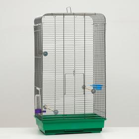 Клетка для птиц 'Пижон' №102, цвет хром, укомплектованная, 41 х 30 х 76 см, зелёная Ош