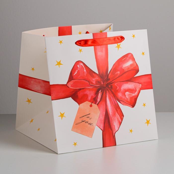 Квадратный пакет For you, 30 × 30 × 30 см