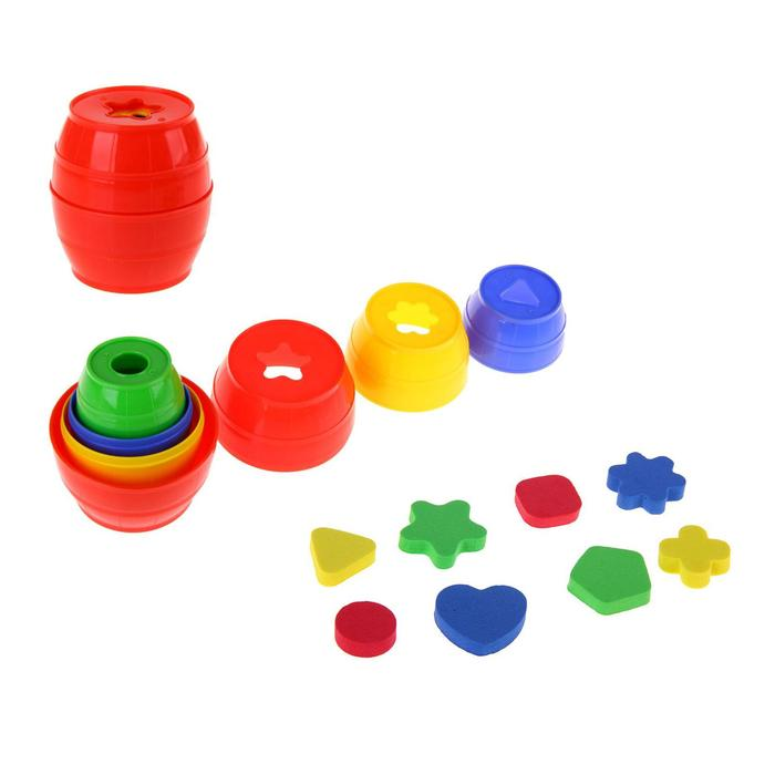 Матрёшка «Бочонок логический»: 4 матрёшки-бочонка и геометрические фигуры, цвета МИКС