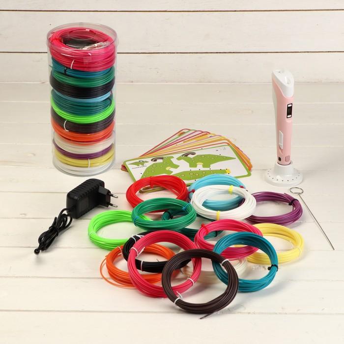 Комплект в тубусе 3Д ручка NIT-Pen2 розовая + пластик ABS 15 цветов по 10 метров