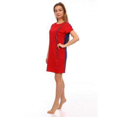 Туника женская, цвет джинс/красный, размер 54