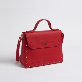 Сумка женская, отдел на клапане, наружный карман, цвет красный