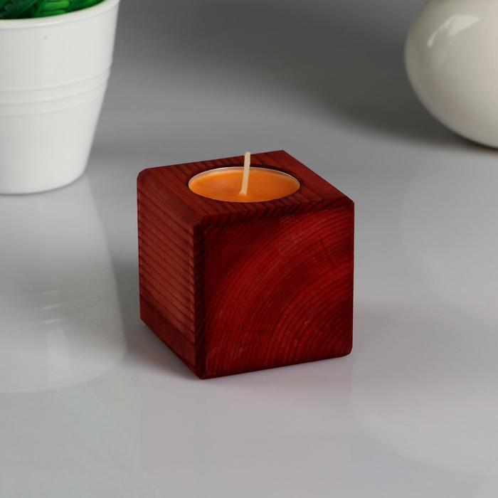 """Декоративный подсвечник """"Красное дерево"""", со свечой """"Апельсин"""""""