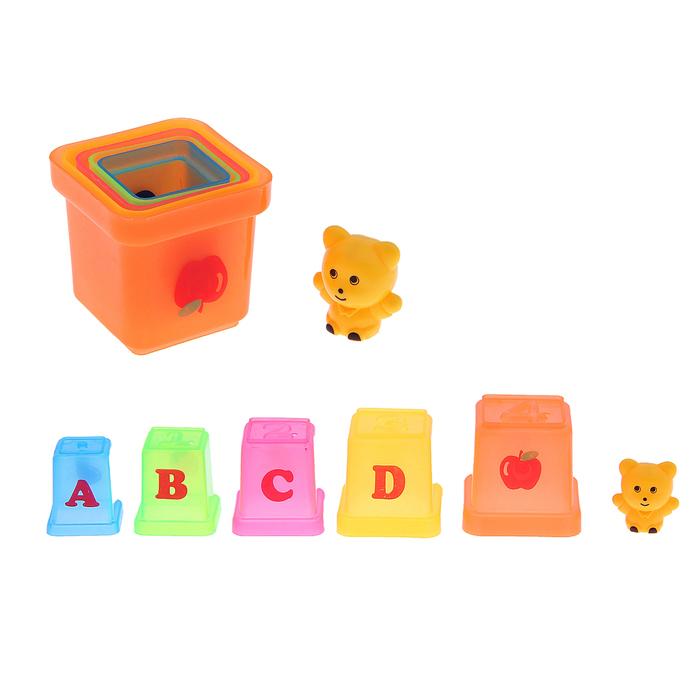 """Набор """"Пирамидка"""": 5 стаканчиков , 2 игрушки, МИКС"""