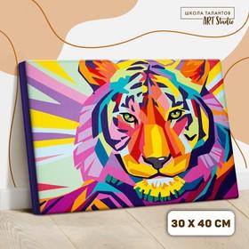 Картина по номерам на холсте с подрамником «Тигр» 30×40 см