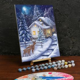 Картина по номерам на холсте с подрамником «Зимняя ночь» 30×40 см