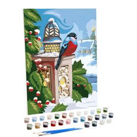 Картина по номерам на холсте с подрамником «Снегирь» 30×40 см