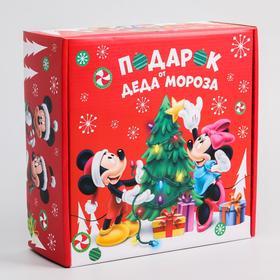 """Коробка подарочная складная """"С Новым Годом! Подарок деда Мороза"""", Микки Маус, 24.5 × 24.5 × 9.5 см"""