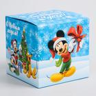 """Коробка подарочная складная """"С Новым Годом"""", Микки Маус, 9 x 9 x 9 см"""