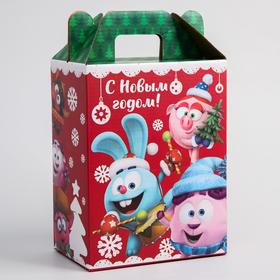 """Коробка подарочная складная """"С Новым Годом"""", Смешарики, 16 х 21 х 10 см"""