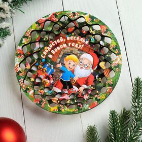 """Тарелка сувенирная деревянная """"Новогодний. Расскажи стишок Деду Морозу"""", цветной"""