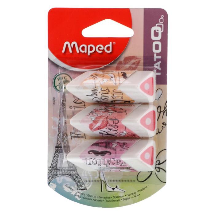 Ластик 3шт Maped Tatoo Париж, треугольный, белый с цветной серединой, блистер