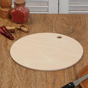 """Доска разделочная деревянная """"Круг с ручкой"""", 24×24×0,6 см"""