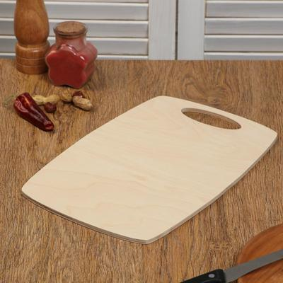 """Доска разделочная деревянная """"Бочонок"""", ручка вырез, 31×21×0,6 см - Фото 1"""