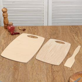"""Набор досок разделочных деревянных """"Бочонок"""", (2 шт + лопатка) ручка вырез, 0,8 см"""