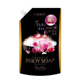 Гель для душа Mitsuei Pure Body Premium, увлажняющий, с аргановым маслом, гиалуроновой кислотой и коллагеном, с роскошным ароматом роз, 840 мл