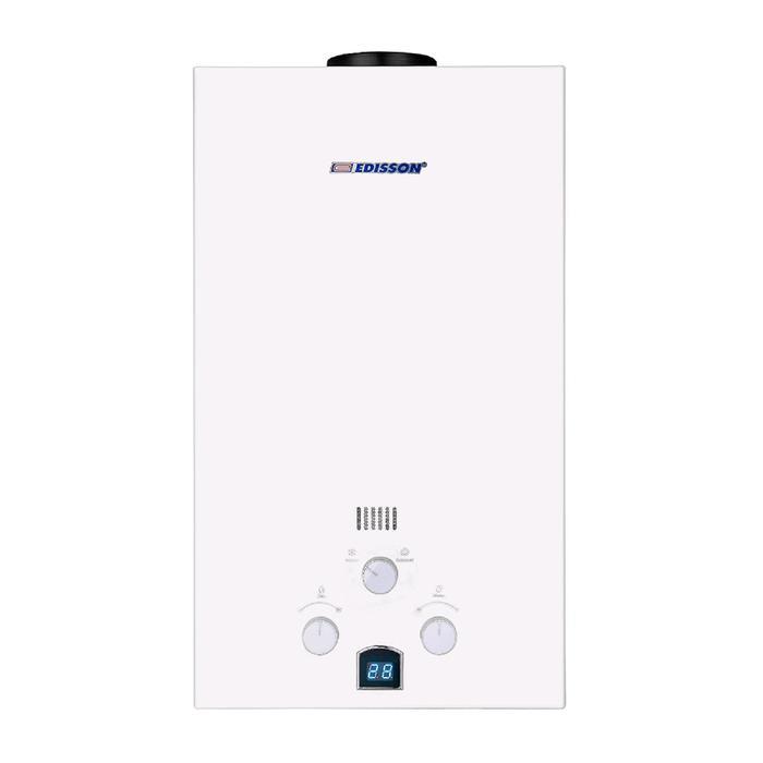 Водонагреватель Edisson E 20 D, проточный, газовый, 20 кВт, 10 л/мин, дисплей, белый
