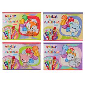 Альбом для рисования А5, 16 листов на скрепке «Игрушки с шарами», обложка мелованный картон, блок 100 г/м2, МИКС Ош