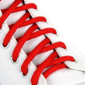 Шнурки для обуви, пара, круглые, 5 мм, 90 см, цвет красный