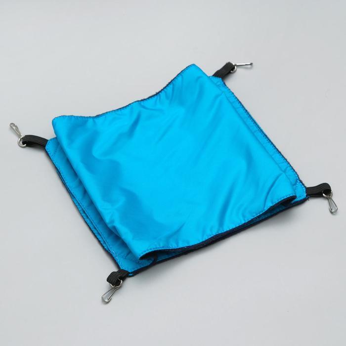 Гамак двойной для крыс, с 4 карабинами, 24 х 24 см, оксфорд/флис, синий