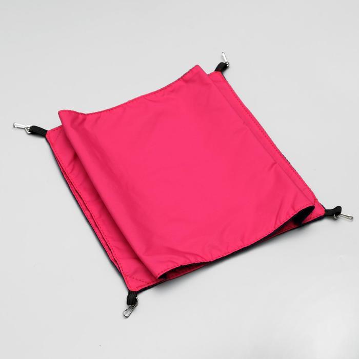 Гамак двойной для крыс, с 4 карабинами, 24 х 24 см, оксфорд/флис, красный