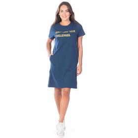 Туника женская с коротким рукавом, размер 44, цвет тёмно-синий Ош