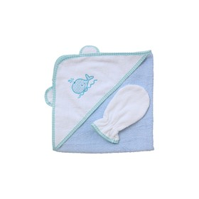 Набор для купания: полотенце-уголок, рукавичка, голубой